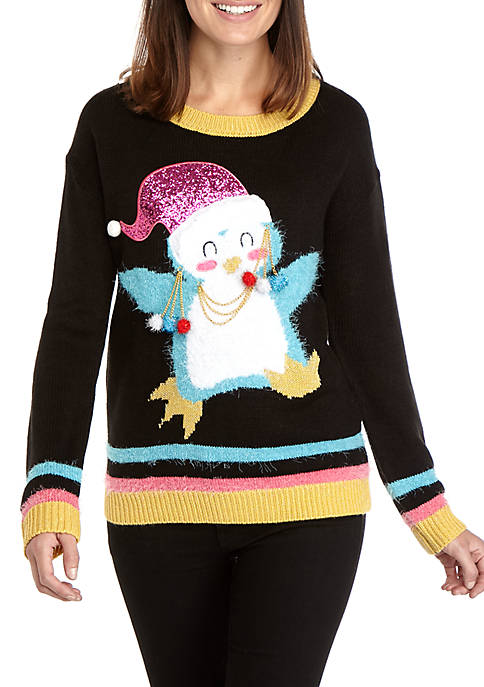 Womens Long Sleeve Xmas Penguin Sweater
