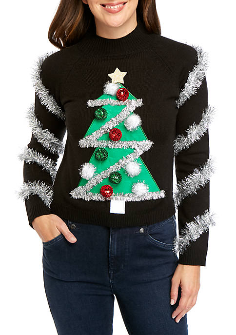 Long Sleeve Christmas Tree Mock Neck Sweater