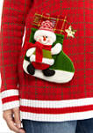 Womens Long Sleeve Varsity Christmas Sweater