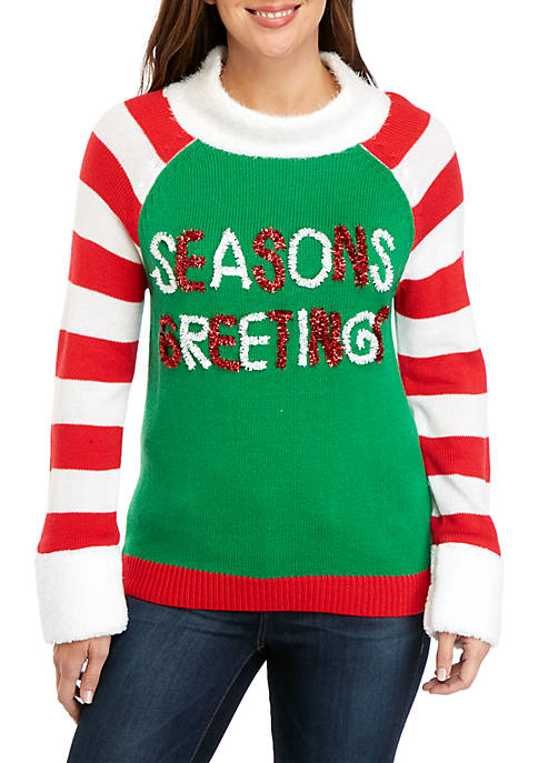 Joyland Long Sleeve Seasons Greetings Cowl Neck Sweater