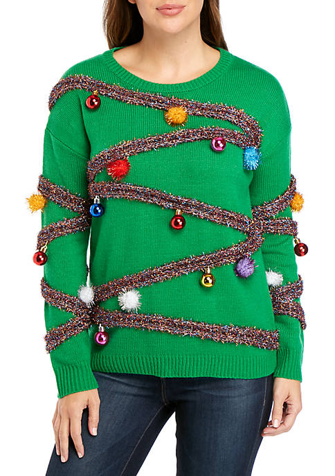 Long Sleeve Christmas Tinsel Sweater