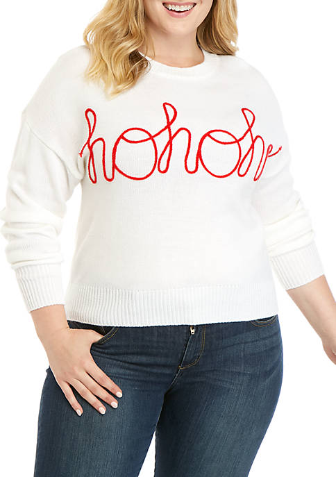 Joyland Plus Size Christmas Ho Ho Ho Sweater