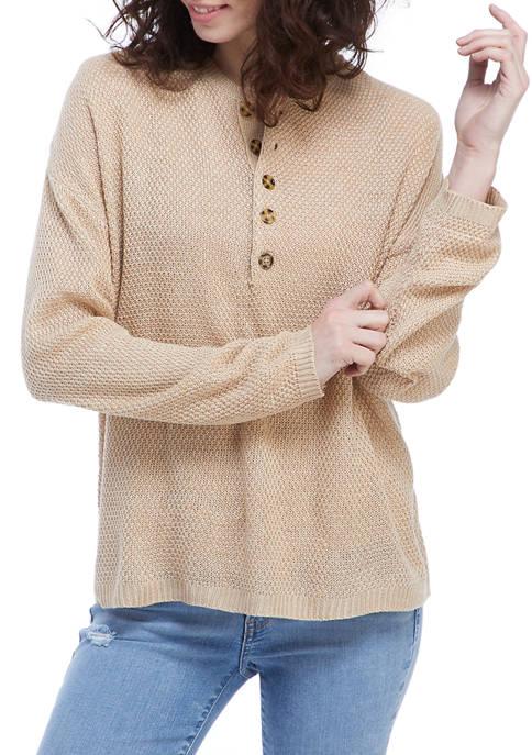 New Directions® Studio Womens Long Sleeve Henley Top