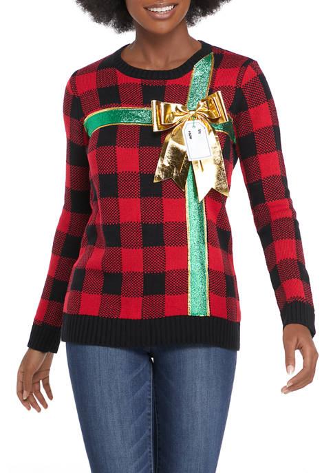 Joyland Womens Buffalo Plaid Bow Sweater