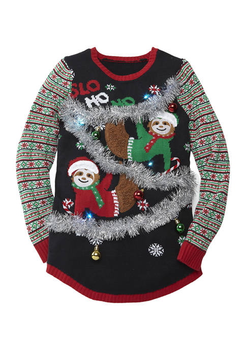 Joyland Womens Long Sleeve Sloth Jacquard Christmas Sweater