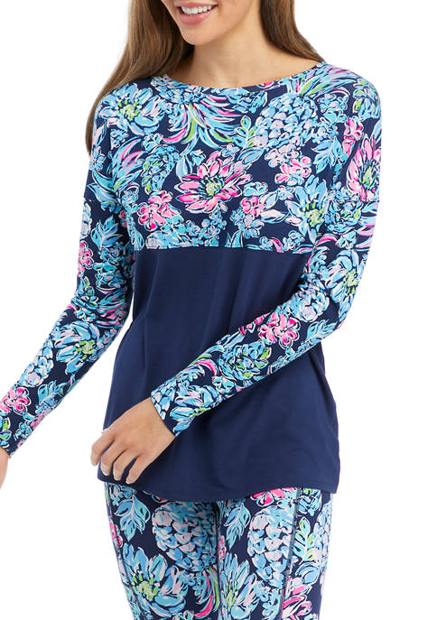Lilly Pulitzer® Womens Floral Navy Top