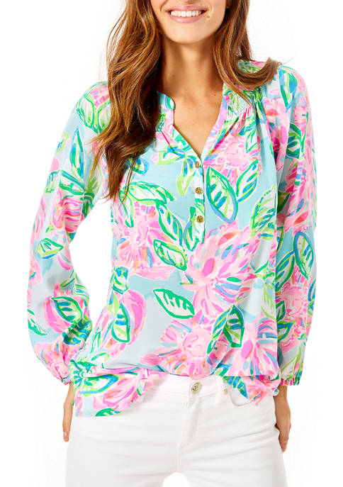 Lilly Pulitzer® Womens Elsa Long Sleeve Peasant Top