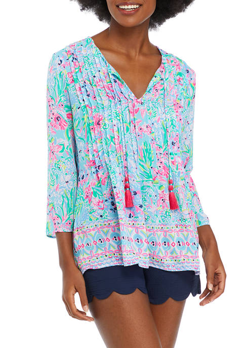 Lilly Pulitzer® Womens 3/4 Flare Sleeve Printed Split