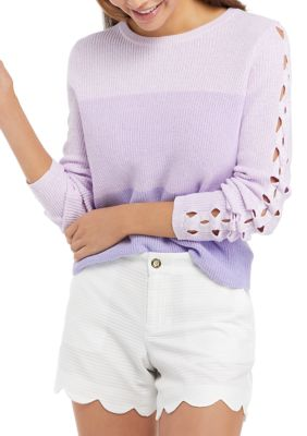 Lilly Pulitzer Womens Eyelet Sleeve Ombre Color Block Sweater