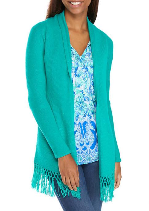 Lilly Pulitzer® Womens Raglan Sleeve Fringe Cardigan