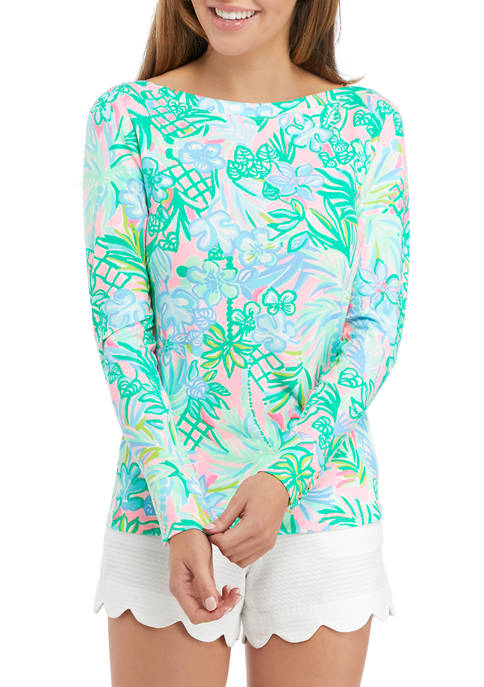 Lilly Pulitzer® Womens Long Sleeve Floral Boat Neck