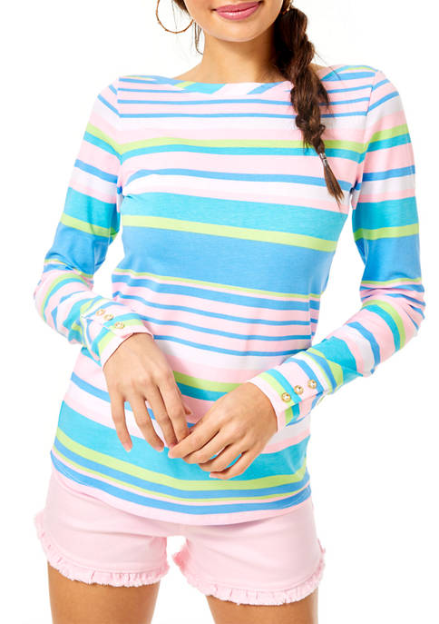 Lilly Pulitzer® Womens Aleah Stripe Boat Neck Top