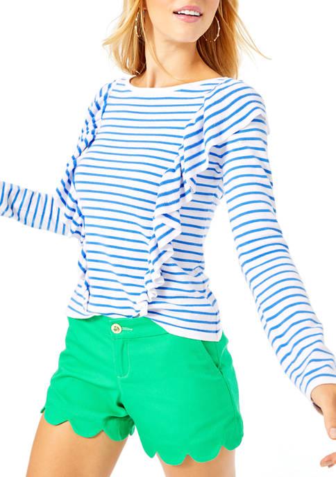Lilly Pulitzer® Womens Ruth Stripe Ruffle Sweater