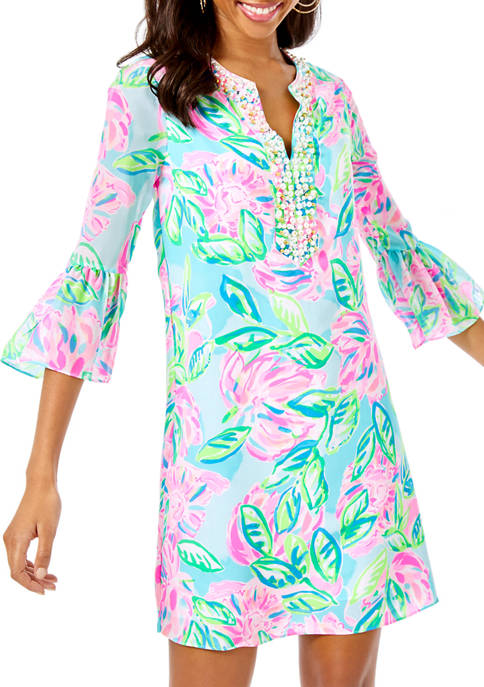 Lilly Pulitzer® Womens Elenora Bell Sleeve Silk Dress