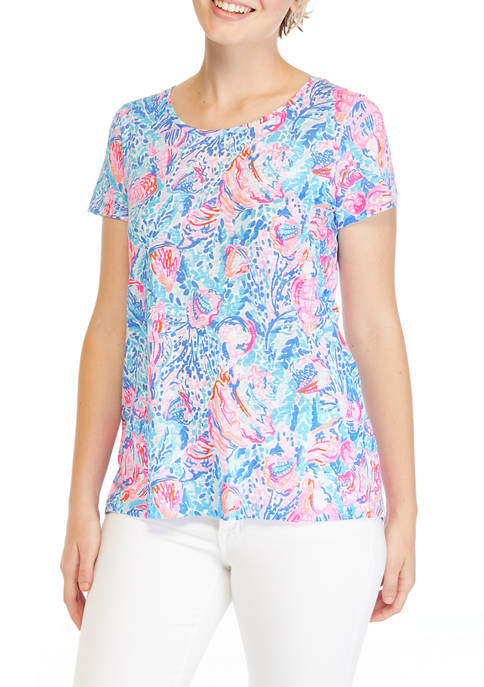 Lilly Pulitzer® Womens Short Sleeve Printed Scoop Neck