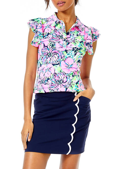 Lilly Pulitzer® Womens Caddie Ruffle Print Polo Top