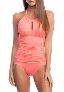 Kenneth Cole High Neck Keyhole One Piece Swimsuit