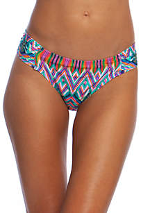 Kenneth Cole Reaction Jungle Mosaic Sash Tab Hipster Swim Bottoms