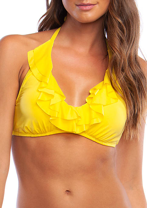 Kenneth Cole Reaction Rufflelicious Underwire Halter Swim Top