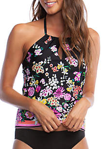 Kenneth Cole Reaction Bloomin' Beauty High Neck Swim Tankini