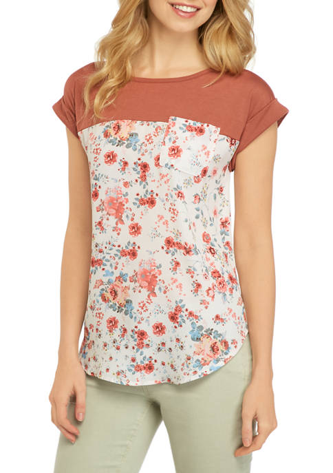 Jolt Juniors Short Sleeve Knit to Woven T-Shirt