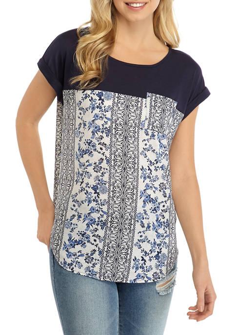 Jolt Juniors Short Sleeve Knit to Woven Top
