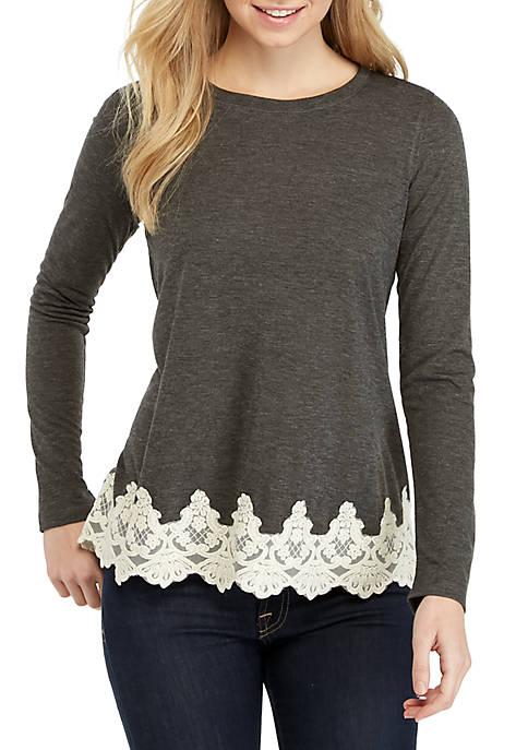 Jolt Solid Long Sleeve Lace Hem Top