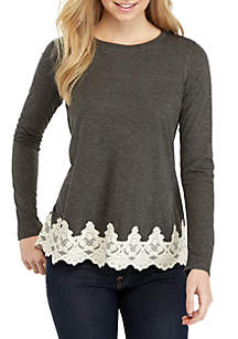 Solid Long Sleeve Lace Hem Top