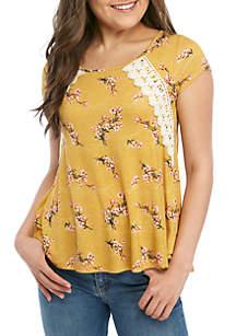 Jolt Short Sleeve Crochet Trim T Shirt