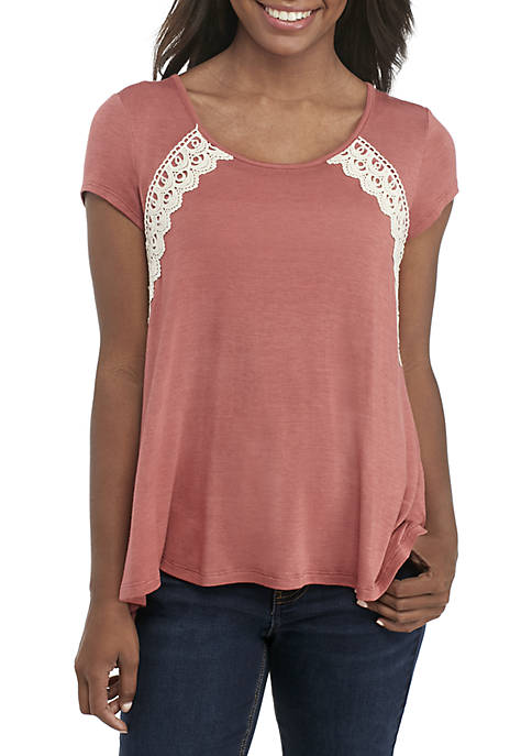 Jolt Short Sleeve Lace-Up Back Crochet Front Top
