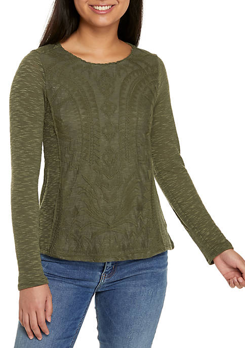 Jolt Long Sleeve Lace Front Knit Top