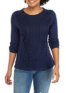 Jolt Long Sleeve Lace Front Knit Top