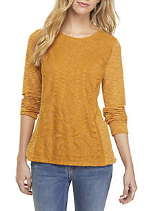 Long Sleeve Lace Front Knit Top