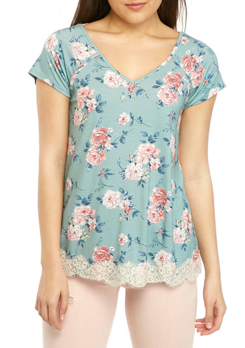 Jolt Juniors Short Sleeve Lace Hem Top