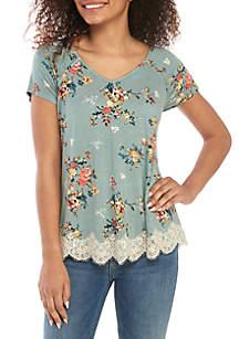 7b3955181d021 ... Jolt Short Sleeve Lace Hem Top