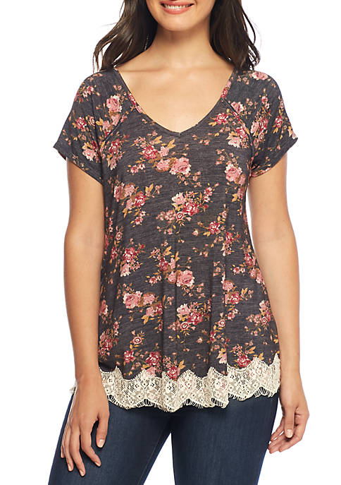 Jolt Cross Back Floral Lace Hem Top