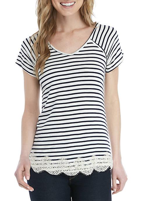 Short Sleeve Lace Hem Stripe T Shirt
