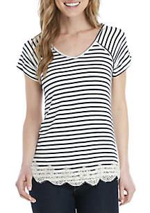 Jolt Short Sleeve Lace Hem Stripe T Shirt