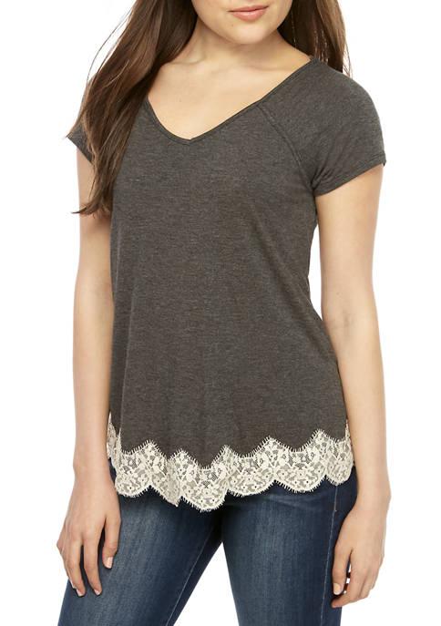 Jolt Short Sleeve Lace Hem T shirt