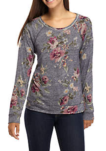 Floral Lace-Up Cold Shoulder Sweatshirt