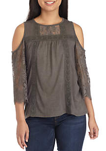 Three-Quarter Cold Shoulder Lace Sleeve Top