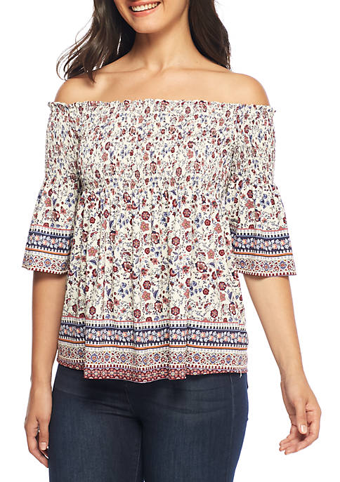Jolt Smocked Off-The-Shoulder Top