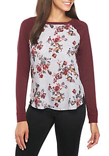 Long Sleeve Knit-to-Woven Floral Baseball Tee