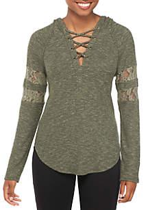 Long Lace-Up Sleeve Crochet Baseball Sweatshirt