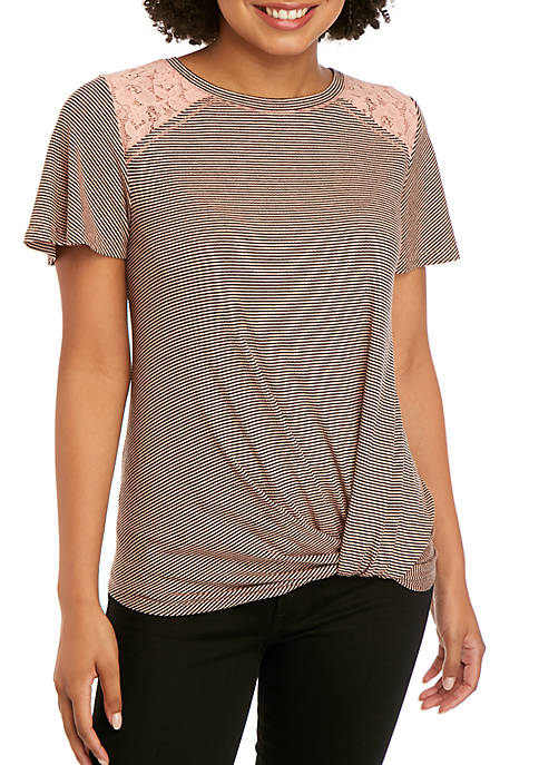 Jolt Short Sleeve Lace Ribbed Knot Front Top