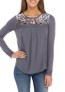 Long Sleeve Velvet Yoke Top