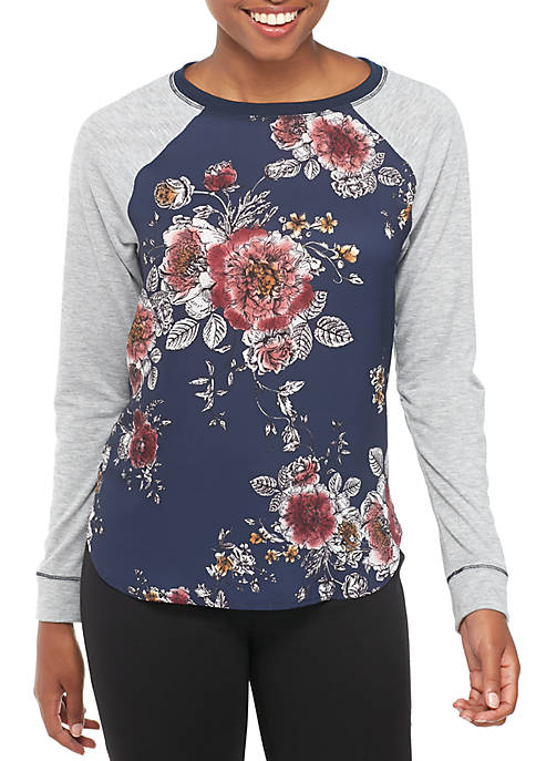 Jolt Long Sleeve Knit To Woven Floral Baseball