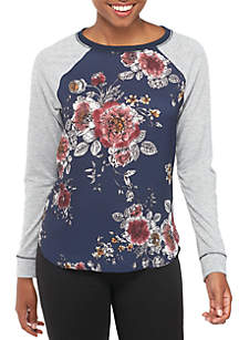 Long Sleeve Knit To Woven Floral Baseball Tee
