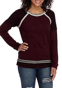 Long Sleeve Textured Knit Pullover