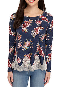 Long Sleeve Lace Hem Print Top